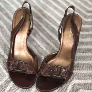 EUC Brown Leather Heels, Made in Brazil!